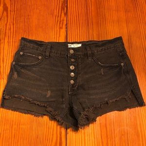 Free People Black Distressed 5 Button Fly Shorts